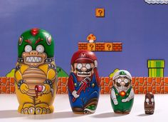 """Super Mario Nesting Dolls 5.25"""" max height / 1.25"""" min height, acrylic on wood. Created by William Butler"""