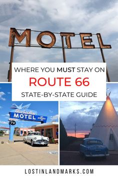Where to stay on Route 66 for a bucket list road trip experience. Motels and Hotels on the mother road that have neon, retro rooms and plenty of quirky character. Route 66 Road Trip, Road Trip Hacks, Road Trips, Solo Travel, Travel Usa, Travel Tips, Historic Route 66, Old Gas Stations, Bucket List Destinations