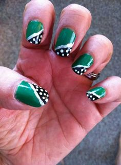Green and black with white dots