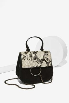 Suede and Snake Print Crossbody Bag