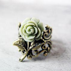 Sage Green Rose Ring Antiqued Bronze Adjustable by jFrancesDesign
