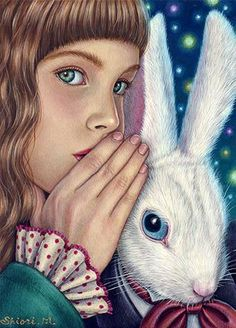 Alice has A secret for the White Rabbit Art of Shioro Matsumoto Adventures In Wonderland, Alice In Wonderland, Illustrations, Illustration Art, Chesire Cat, White Rabbits, Rabbit Art, Rabbit Hole, Bunny Art