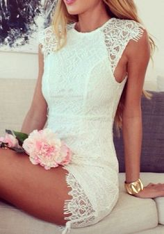 Elegant Lace Dress - White - Sexy Above The Knee Dress