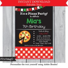 Pizza Party Birthday Party Invitation Editable Text by printmagic Pizza Party Birthday, 7th Birthday, Birthday Party Invitations, Birthday Party Themes, Pizza Restaurant, Text You, Rsvp, Party Ideas, Handmade Gifts