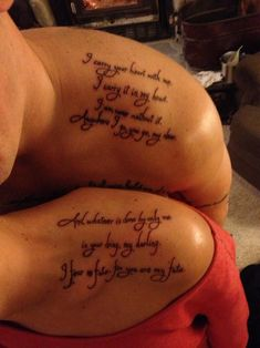 """My husband and I got this tattooed before he left for deployment..""""I carry your heart with me. I carry it in my heart. I am never without it. Anywhere I go, you go my dear. And whatever is done by only me is your doing, my darling. I fear no fate, for you are my fate"""""""