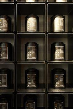 Tea Shop in Sydney by Landini Associates Perfume Display, Perfume Store, Chinese Tea Room, Tea Display, Display Wall, Twg Tea, Showroom Interior Design, Retail Interior, Feature Wall Design