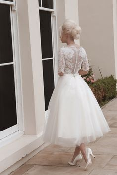 tulle short wedding dresses | Tulle and lace short calf length wedding dress with elbow lace sleeves