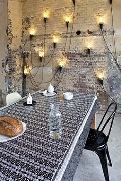 creative use of simple lighting where u don't have to hide the cords but make them the star!