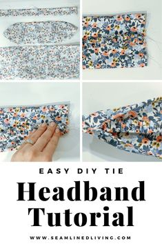 How to Make a DIY Elastic Headband (with a Tie) - Seamlined Living Are you looking for the ultimate scrap buster? Learn how to make this easy DIY Elastic Headband (with a Tie). Diy Sewing Projects, Sewing Projects For Beginners, Sewing Hacks, Sewing Tutorials, Sewing Tips, Scrap Fabric Projects, Dress Tutorials, Sewing Basics, Sewing Crafts