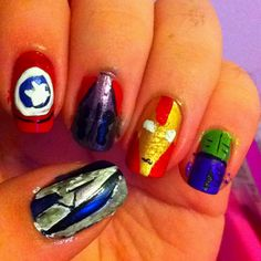 The Avengers Nails. (index to pinky) Captain America, Thor, Ironman, and the Hulk.