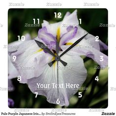 Pale Purple Japanese Iris Flower Square Wall Clock.  From Smilin' Eyes Treasures at Zazzle.