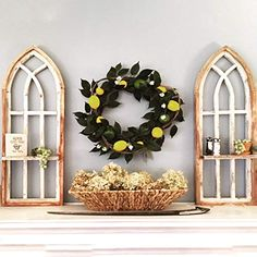 Distressed Cathedral Arch Window Frame Set with Shelf Decor, Cottage Decor Farmhouse, Window Decor, Wood Arch, Arched Windows, Surfboard Decor, Wall Decor, Window Frame, Cottage Decor