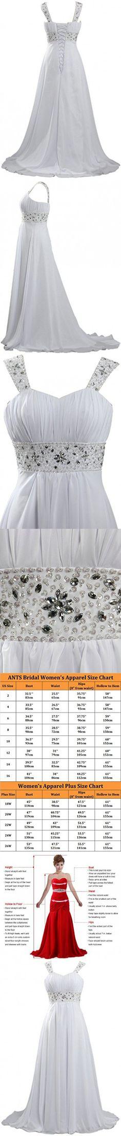 ANTS Women's Long Chiffon Beach Wedding Dresses 2016 Cap Sleeves Size 20W US White