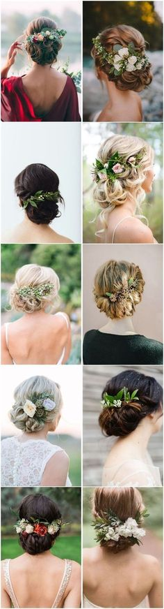 18 Wedding Updo Hairstyles with Greenery Decorations, Peinados, Wedding Hairstyles Wedding Hair Flowers, Wedding Hair And Makeup, Flowers In Hair, Wedding Greenery, Wedding Colors, Hair Makeup, Prom Flowers, Peacock Wedding, Bride Makeup