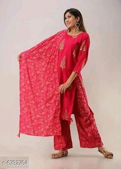 Dupatta Sets Women Rayon A-line Printed Long Kurti With Palazzos And Dupatta Kurta Fabric: Rayon Bottomwear Fabric: Rayon Fabric: Rayon Sleeve Length: Three-Quarter Sleeves Set Type: Kurta With Dupatta And Bottomwear Bottom Type: Palazzos Pattern: Printed Multipack: Single Sizes: S (Bust Size: 42 in Kurta Length Size: 46 in Bottom Waist Size: 34 in Bottom Length Size: 39 in)  Country of Origin: India Sizes Available: S, M, L, XL, XXL, XXXL   Catalog Rating: ★3.9 (487)  Catalog Name: Women Rayon Printed Short Kurti With Palazzos And Dupatta CatalogID_1073381 C74-SC1853 Code: 275-6732764-2841
