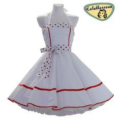 5764ee176136 Hochzeit Petticoat Kleid weiß rot Hochzeitskleid Rockabilly