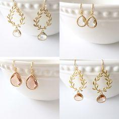 Crystal Teardrop Earrings + Crystal Gold Leaf Earrings - Wedding Bridesmaid Jewelry