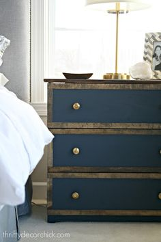 gale force blue dresser with wood trim Stain Ikea Furniture, Painting Ikea Furniture, Small Bedroom Furniture, Farmhouse Furniture, Rustic Furniture, Furniture Makeover, Kitchen Furniture, Painted Furniture, Office Furniture