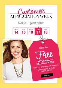 t's Day 4 of our Customer Appreciation Week and you will love the Deal of the Day. Free Styleswap Necklace(3-in1) with any $50 online order @maromire.avonrepresentative.com. Use PromoCode DEAL4. #FreeOffer #AvonJewelry #Deal