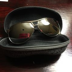 Mirrored aviator sunglasses with case New retail. Silver tone and black. Mirrored. Zip up case. Accessories Glasses