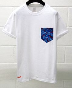 Men's Blue Floral Pattern White Pocket TShirt by HeartLabelTees, £9.95