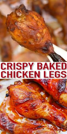 Crispy Baked Chicken Legs - Sweet and Savory Meals Baked Chicken Legs are tender, juicy, and perfectly caramelized! Have perfectly seasoned chicken legs for a quick dinner with just a few basic ingredients! Baked Chicken Recipes, Turkey Recipes, Recipes For Chicken Legs, Chicken Quarter Recipes, Chicken Drumstick Recipes, Smoked Meat Recipes, Easter Recipes, Shrimp Recipes, Salmon Recipes