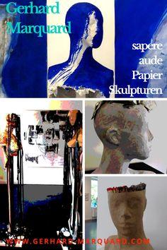 """Papierskunst kann viele Gesichter haben, im wahrsten Sinne des Wortes. Papierbilder sind vielleicht populärer als Papierskulpturen. Meine Figuren und Köpfe nenne ich """"Art-Genossen"""". Vor zwei Jahren habe ich angefangen, neben meinen Bildern und Zeichnungen auch Skulpturen zu bauen. Der Grund dafür ist, weil ich Ideen habe, die sich als Bild oder Zeichnung nicht gut realisieren lassen. Es war also die Frage, lasse ich diese Ideen im Kopf oder finde ich eine Form? #Papierkunst, #Sculpture, 3d Gouache, Graphic Novel, Sand Art, Outdoor Art, Urban Art, Body Art, Graffiti, Street Art, Sculpture"""
