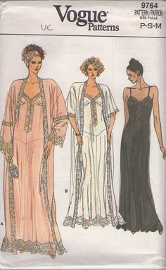 MOMSPatterns Vintage Sewing Patterns - Vogue 9764 Vintage 80's Sewing Pattern BREATH TAKING Elegant Victorian Style Slip Nightgown, Basque Waist, Shirred Bust, Lace Trimmed Gown & Peignoir Robe, Dressing Gown MUST SEE!