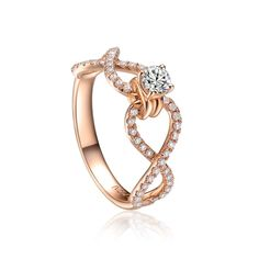 Very Nice Design 18K Rose Gold Diamond Ring for Wife, $519.72 | DHgate.com