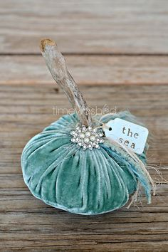 Velvet Pumpkin-Coastal Beach Fall Decor , if summer must end and fall must come I shall embrace it with beachy pumpkins