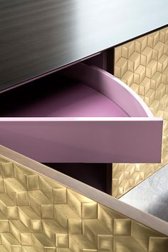 MOSAICO metal cladding cabinet detail. Design Nikita Bettoni #mosaic #brass #handmade #lacqueredwood #metal