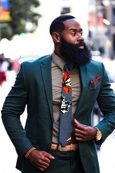 Ankara Necktie, Wedding Necktie, Orange Necktie, Groomsmen - Men's fashion, style shapes and clothing tips Black Men Beards, Handsome Black Men, Black Men In Suits, Mens Suits Style, Men's Suits, Stylish Men, Men Casual, Casual Wear, Mode Costume