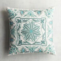 Turquoise Crewel Tile Pillow   Pier 1 Imports