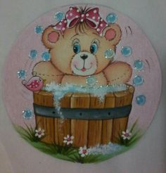 Hhh Tole Painting, Fabric Painting, Bear Pictures, Cute Pictures, Colour Pencil Shading, Country Bears, Digi Stamps, Painting Patterns, Embroidery Applique