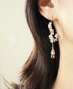 [Commerciaux] artisans de Creema japonais boucles d'oreilles d'or exquis faits à la main pierres précieuses fleurs - station mondiale Taobao
