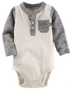 1e02a3515 Baby Boy Colorblock Heathered Henley Bodysuit from OshKosh B'gosh.