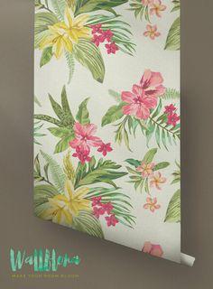 Plumeria Wallpaper  Removable Wallpaper  Hawaiian by WallfloraShop