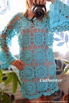 Graficos y Crochet: Vestido en azul