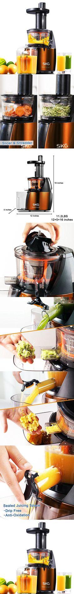 SKG Premium 2-in-1 Anti-Oxidation Slow Masticating Juicer & Multifunction Food Processor - Vertical Low Speed Masticating Cold Press Slow Juicer (150W, 65 RPMs) - Electric Food Slicer & Food Shredder