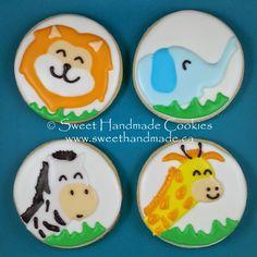 Sweet Handmade Cookies - baby shower themed cookies, lion cookies, elephant cookies, giraffe cookies, zebra cookies
