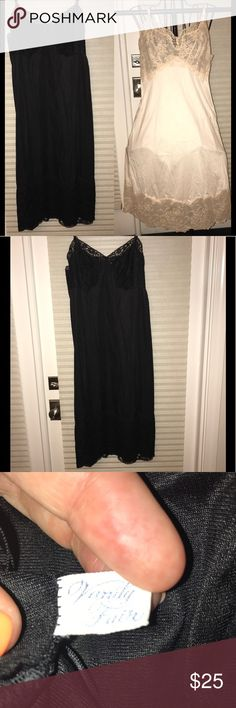 💰SALE🔥Vintage black Vanity Fair Slip size 36 This Vintage 1964 black Vanity Fair Slip in size 36 is in good vintage condition. No marks or flaws. Fabrics, straps, lace, all in very good condition. Figure flattering cut, knee length. Also available in blush, check my other listing. Soft cups, will fit up to C cup. If you love vintage, this treasure is for you! NOTE THAT THIS LISTING IS FOR A BLACK SLIP. PHOTOS OF BLUSH SLIP ARE USED TO SHOW DETAIL THAT IS DIFFICULT TO PHOTOGRAPH IN BLACK…