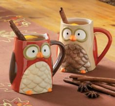 Owl, Autumn and Fall by TAG mugs. I have the cookie jar and salt and pepper shakers thanks to my bestie...But i think I need these :p