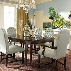 "New Traditional (779-302) DINING TABLE. Extends to 124"" with 2 leaves."