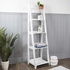 Nautical Wooden Ladder Shelves White is part of Wooden Home Accessories Bathroom Storage - Providing a neat and space saving storage solution for your bathroom, these easy to assemble ladder shelves are designed in a white nautical theme White Bathroom Storage, Bathroom Ladder, Glass Bathroom Shelves, Bathroom Ideas, Bathroom Drawers, Bathroom Inspiration, Small Bathroom, Master Bathroom, White Ladder Shelf