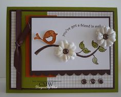 Me, My Stamps and I - Stamps: Cheep Talk - Paper: Old Olive, Really Rust, Chocolate Chip, Whisper White, Parisian Breeze DSP - Ink: Chocolate Chip, Old Olive, Really Rust - Accessories: dew drops, twill Chocolate Chip ribbon, primas - Tools: scallop edge punch, CE, dimensionals