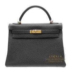 images of kelly purses | Hermes Kelly bag 32 retourne Black Togo leather Gold hardware