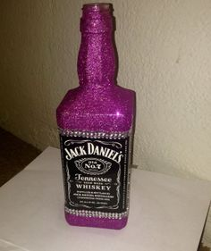 Pink glittery Jack Daniel's  bottle hand made by CraftyyQueenBee, $20.00 - Perfect gift for a college apartment!