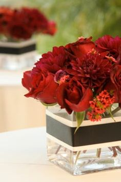 "Red table center pieces. Would use Navy w/ ""One America"" on it."