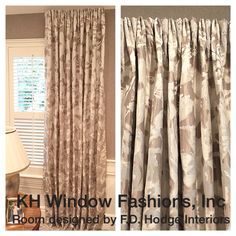 Beautiful inverted French pleat drapes. KH Window Fashions.com. #windowtreatments #drapes #khwindowfashions #decor #fabric