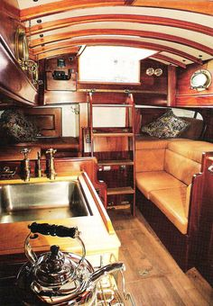 My Boats Plans - beautiful cabin interior, so cozy - Master Boat Builder with 31 Years of Experience Finally Releases Archive Of 518 Illustrated, Step-By-Step Boat Plans Sailboat Living, Living On A Boat, Sailboat Interior, Yacht Interior, Wooden Sailboat, Classic Wooden Boats, Classic Yachts, Wood Boats, Boat Stuff